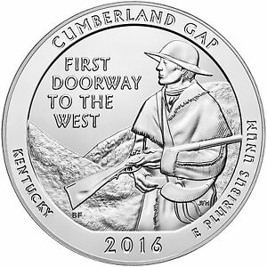 CUMBERLAND GAP NATIONAL PARK 2016   AMERICA THE BEAUTIFUL 5OZ .999 PURE SILVER