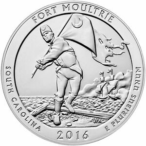 2016  5 OZ. SILVER AMERICA THE BEAUTIFUL FORT MOULTRIE SOUTH CAROLINA
