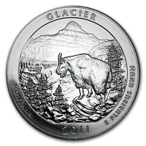 2011 5 OZ SILVER AMERICA THE BEAUTIFUL GLACIER NATIONAL PARK MT