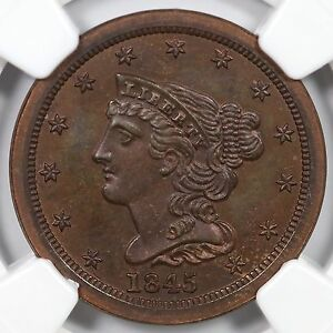 Click now to see the BUY IT NOW Price! 1845 2ND RESTRIKE R 6 NGC PF 67 BRAIDED HAIR HALF CENT COIN 1/2C