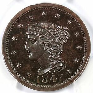 Click now to see the BUY IT NOW Price! 1847 N 42 R 6 PCGS PR 66 BN CAC BRAIDED HAIR LARGE CENT COIN 1C