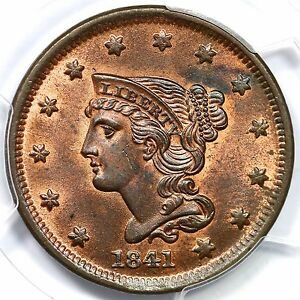 Click now to see the BUY IT NOW Price! 1841 N 7 R 2 PCGS MS 64 RB BRAIDED HAIR LARGE CENT COIN 1C