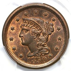 Click now to see the BUY IT NOW Price! 1850 N 1 R 2 PCGS MS 65 RB CC LEVEL BRAIDED HAIR LARGE CENT COIN 1C