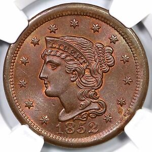 Click now to see the BUY IT NOW Price! 1852 N 15 R 3 NGC MS 66 RB BRAIDED HAIR LARGE CENT COIN 1C
