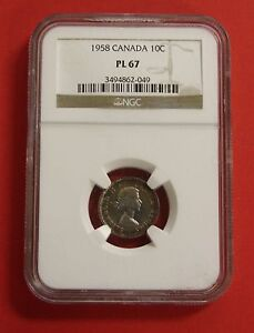 Click now to see the BUY IT NOW Price! 1958 CANADA 10 CENT SILVER COIN DIME E12   NGC PL 67