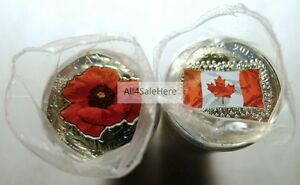 Click now to see the BUY IT NOW Price! 2015 CANADA FLAG   REMEMBRANCE DAY POPPY MIXED COLOR 25 CENT QUARTER COIN ROLLS