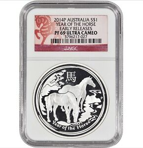 Click now to see the BUY IT NOW Price! 2014 P AUSTRALIA S$1 YEAR OF THE HORSE   NGC PF69 ULTRA CAMEO   EARLY RELEASES