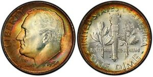 Click now to see the BUY IT NOW Price! 1954 D ROOSEVELT DIME PCGS MS66 MONSTER RAINBOW TONING TONED OBVERSE/REVERSE