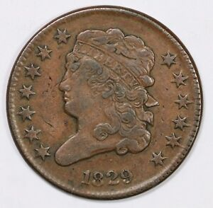 1829 FLIP OVER DOUBLE STRUCK CLASSIC HEAD HALF CENT COIN 1/2C