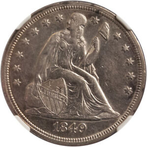 1849 LIBERTY SEATED DOLLAR FRESHLY GRADED BY NGC AU DETAILS SCRATCHED