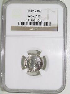 Click now to see the BUY IT NOW Price! 1949 S 10C ROOSEVELT DIME  MS67FT FULL TORCH BANDS SILVER TONED UNCIRCULATED