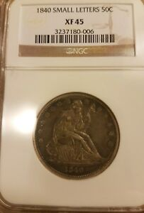 1840 SMALL LETTERS 50C SEATED LIBERTY HALF DOLLAR XF 45 NGC GRADED