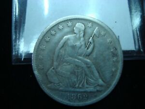1862 S SEATED LIBERTY HALF DOLLAR LARGE S CIVIL WAR HIGHER GRADE