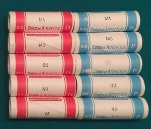 2000 STATE QUARTER ROLLS ALL 10 MASSACHUSETTS MARYLAND SC NEW HAMPSHIRE VIRGINIA
