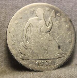 1861 SEATED HALF DOLLAR