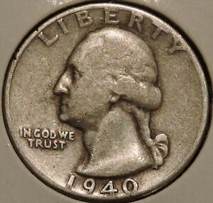 WASHINGTON SILVER QUARTER   1940   $1 UNLIMITED SHIPPING.