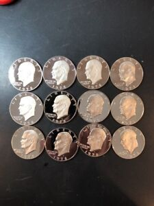 12 FLAWLESS 1978S CAMEO PROOF EISENHOWER DOLLAR COINS