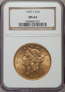 $20 LIBERTY 1905 S DOUBLE EAGLE NGC MS63 BEAUTIFUL