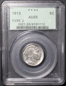 Click now to see the BUY IT NOW Price! 1913 TYPE 2 BUFFALO NICKEL PCGS OGH AU55   CHOICE ALMOST UNCIRCULATED   OGH