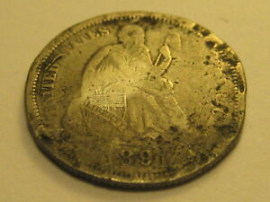 1891 P SEATED LIBERTY DIME CULL