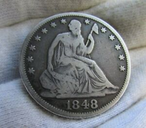 1848 50C SEATED LIBERTY HALF DOLLAR     VERY TOUGH PHILADELPHIA MINT