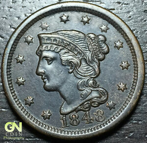 1848 BRAIDED HAIR LARGE CENT     MAKE US AN OFFER   Y6880