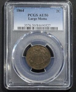 Click now to see the BUY IT NOW Price! 1864 TWO CENT PIECE PCGS AU50   ALMOST UNCIRCULATED