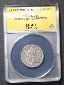 Click now to see the BUY IT NOW Price! 1855 S XF40 DETAILS ANACS SEATED LIBERTY SILVER QUARTER  VERY  IN THIS GRADE