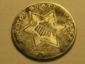 1857 TY II THREE CENT SILVER PIECE GOOD DENTS