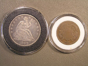1848 O LIBERTY SEATED HALF DOLLAR & 1865 TWO CENT PIECE   TWO COIN LOT AIR TITES