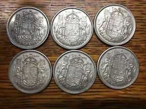Click now to see the BUY IT NOW Price! LOT OF 6   CANADIAN 1957 50 CENT  QUEEN ELIZABETH  .800 SILVER COIN