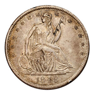 1848 O SILVER SEATED LIBERTY HALF DOLLAR 50C  ABOUT UNCIRCULATED AU CONDITION