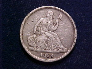 1838 O 10C NO STARS LIBERTY SEATED DIME; VF DETAILS WITH NUMEROUS TINY GOUGES