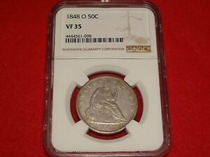 1848 O SEATED LIBERTY HALF DOLLAR NGC VF35 A PLEASING NEW ORLEANS MINT 50C