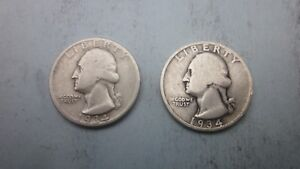 1 1934 P& 1 1934D SILVER 25C WASHINGTON QUARTERS IN A NICE BLUE SUEDE POUCH
