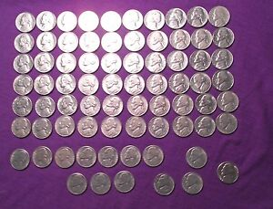 LOT OF 74 JEFFERSON NICKLES 1970 1971 1972 1973 1958 1959 ALL NICE