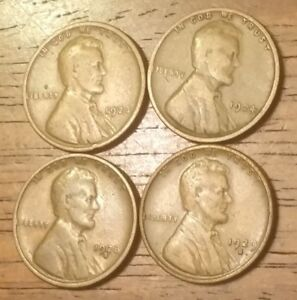 1923 1924 1928S 1929S LINCOLN WHEAT CENT PENNY GOOD TO GOOD