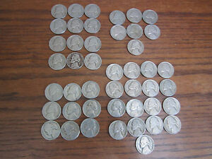 1946 1949 JEFFERSON NICKELS: LOT OF 45 CIRCULATED COINS
