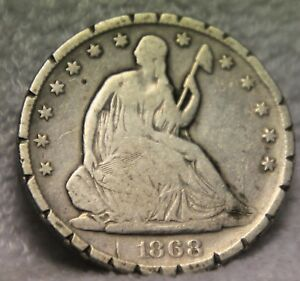 1868S SEATED HALF DOLLAR