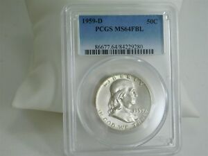 1959 D PCGS MS64FBL 50C COIN FRANKLIN HALF DOLLAR CERTIFIED UNCIRCULATED MC485