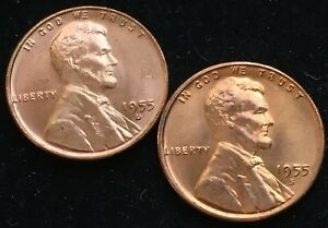 NICE GEM RED BU 1955 D & 1955 S LINCOLN WHEAT CENTS. HIGH GRADE  NOT AVERAGE BU