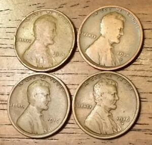 1915 1915D 1916 1916D LINCOLN WHEAT CENT PENNY GOOD TO GOOD