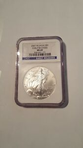 2007 W AMERICAN SILVER EAGLE NGC MS69 EARLY RELEASE FROM THE WEST POINT MINT.