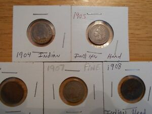 INDIAN HEAD CENTS 1904 1905 1906 1907 1908 PLUS 11 EXTRA INDIAN HEADS