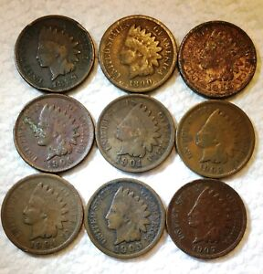 INDIAN HEAD PENNIES   ONE LOT OF 9 COINS   MIXED DATES 1889   1907