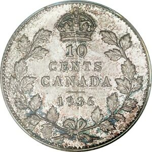 Click now to see the BUY IT NOW Price! 1936 CANADIAN SILVER 10 CENTS CCCS MS 64  BAR