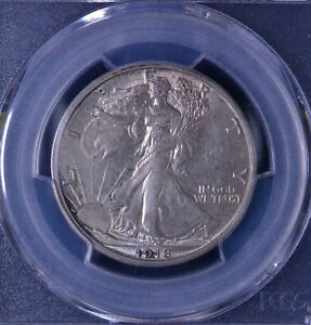1918 S WALKING LIBERTY HALF DOLLAR PCGS & CAC AU 58 84059959