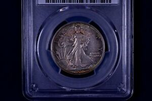 TONED 1917 50C WALKING LIBERTY HALF DOLLAR PCGS AU 53 83640359