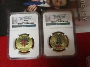 Click now to see the BUY IT NOW Price! 2012 & 2011 AUSTRALIA COINS CHRISTMAS TREE AND CHRISTMAS BELLS WREATH BRONZE NGC