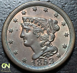 1853 BRAIDED HAIR HALF CENT  C1    BR:1A      MAKE US AN OFFER   G3881